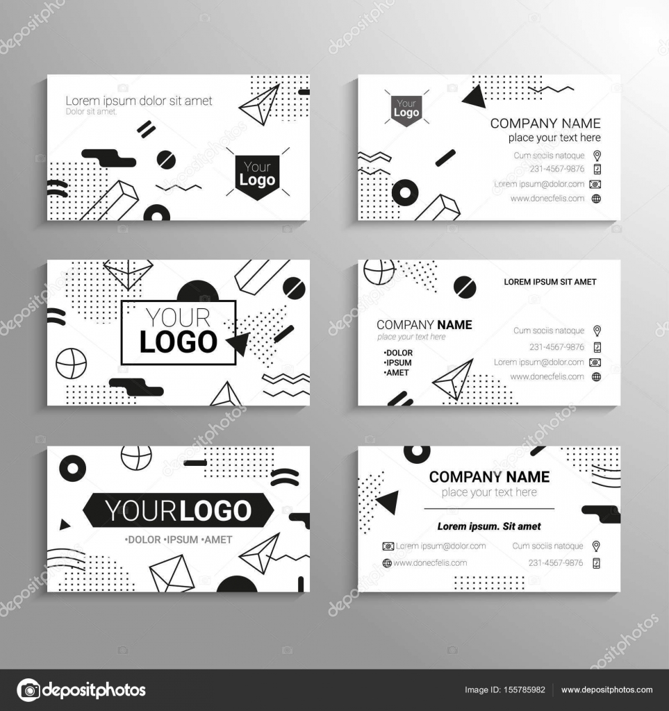 Business cards - vector template abstract bw background — Stock ...