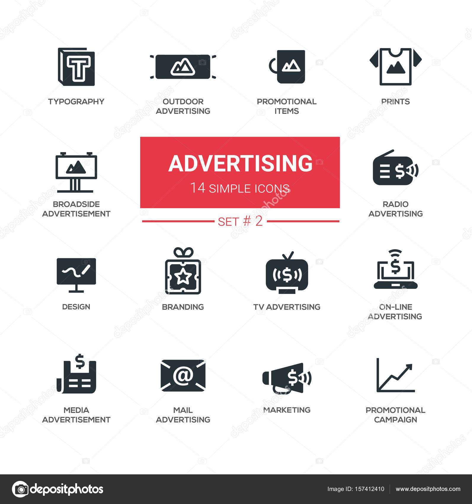 Werbung - moderne einfache Symbole, Piktogramme set — Stockvektor ...