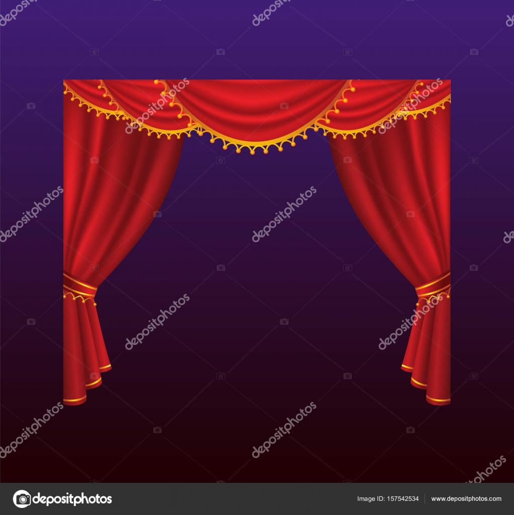 Gordijnen - realistische vector rode gordijnen illustratie ...