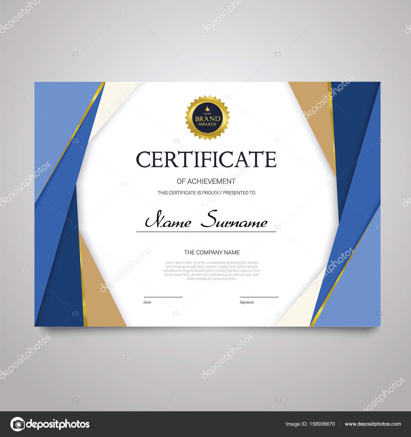 Certificate Template Horizontal Elegant Vector Document Stock