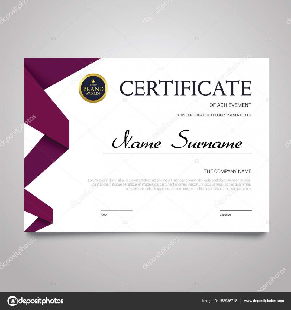Zertifikat-Vorlage - horizontale elegante Vektor Dokument ...