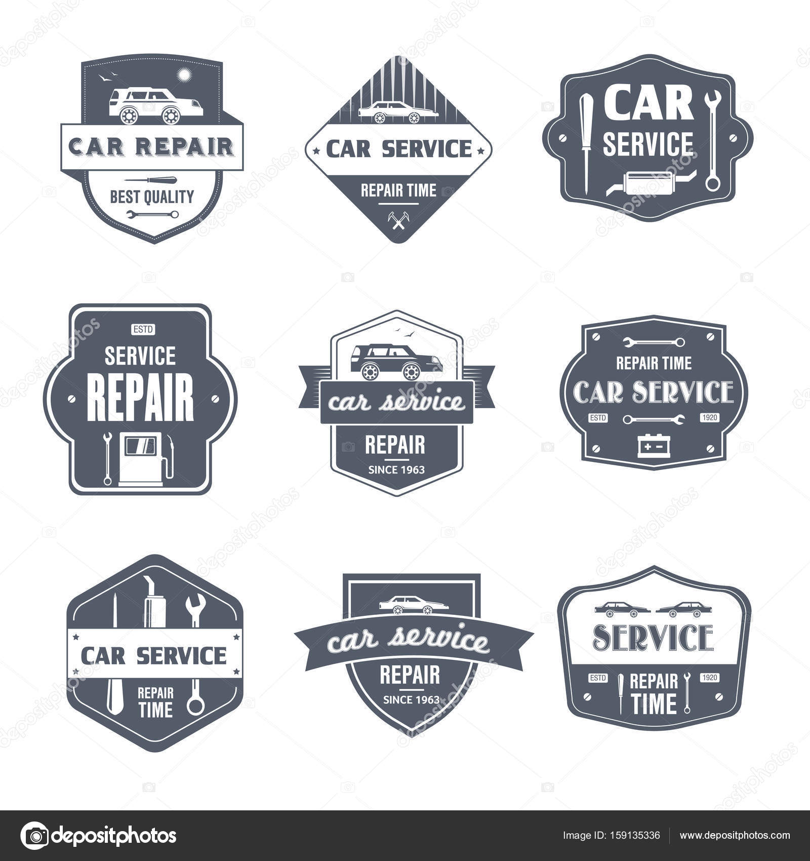 Kfz-Reparatur - Vintage Vektor-Set von logos — Stockvektor ...