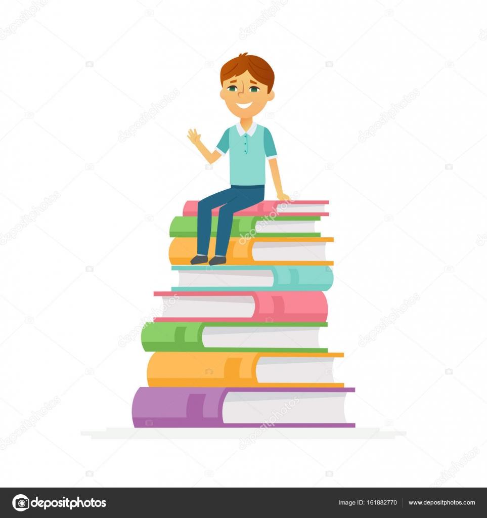 School Boy - Zeichen von glückliches Kind sitzt auf Bücher ...