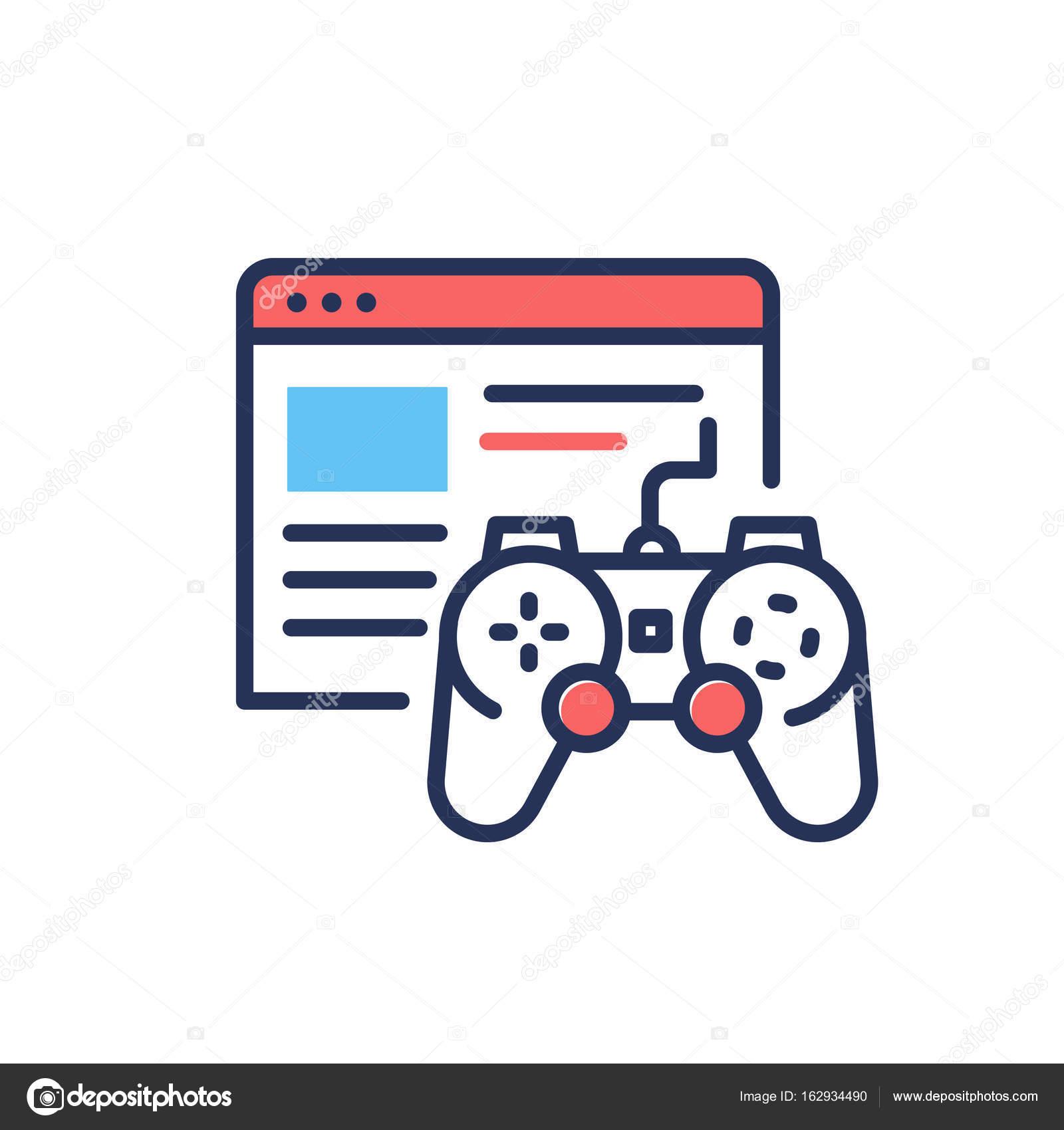 Browser Games - modern single vector line design icon. — Stock ...