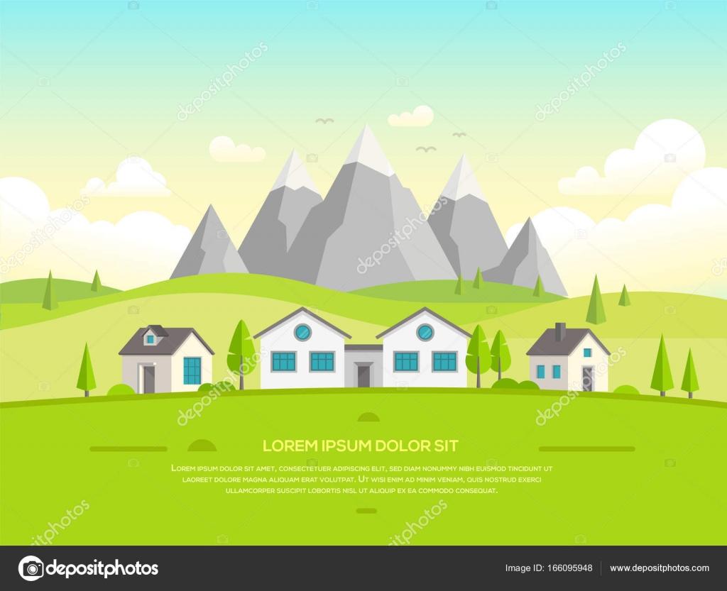 Kleine Häuser von den Bergen - moderne Vektor-illustration ...