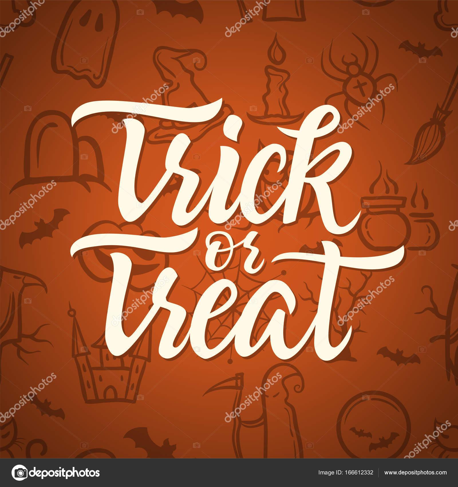 Süßes oder Saures - Halloween-Feier-Poster mit Kalligraphie-text ...