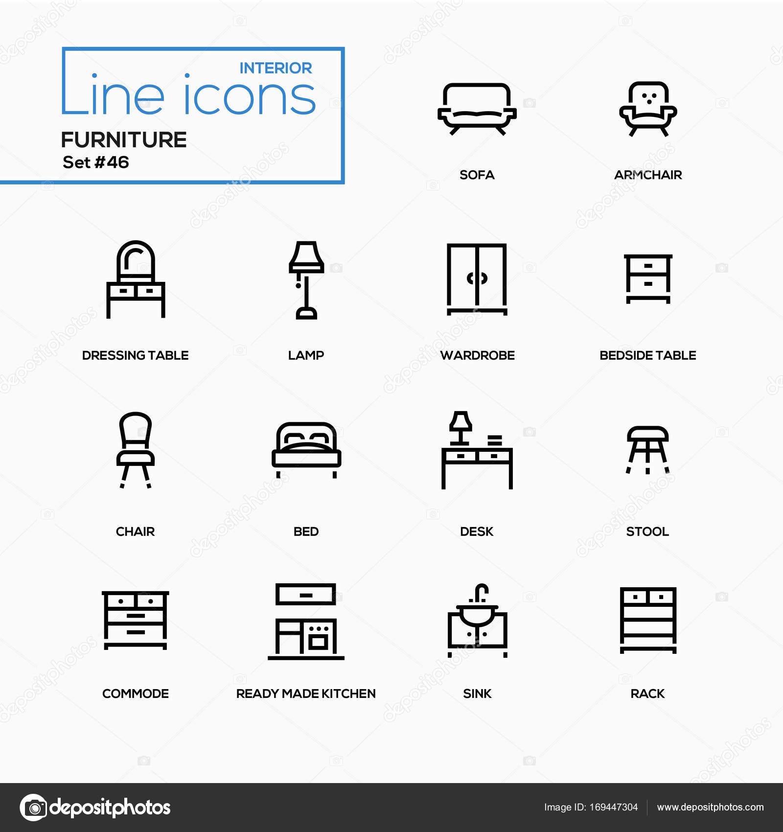 Muebles - línea diseño iconos conjunto — Vector de stock ...