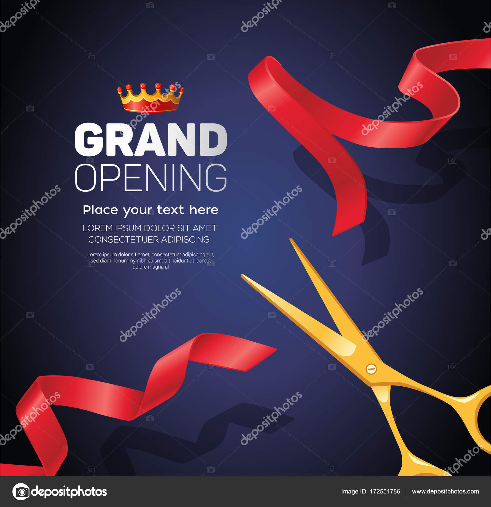 grand opening template modern vector illustration on blue