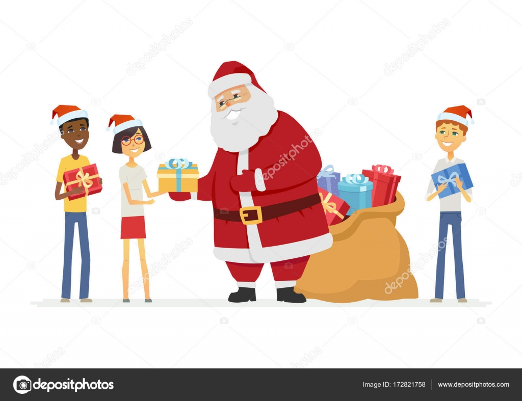 Happy Santa Claus with international children - cartoon characters ...