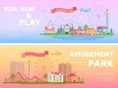 Zábavní park - sada moderní ploché vektorové ilustrace