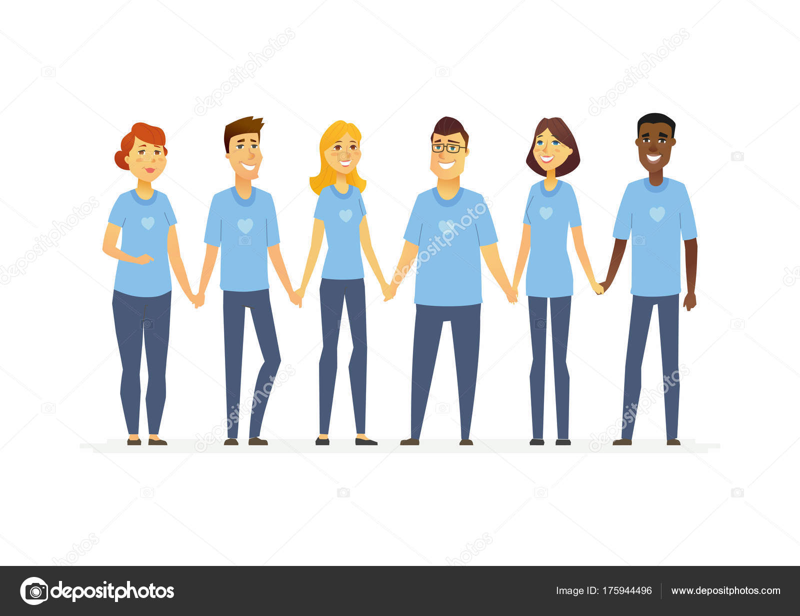 happy volunteers holding hands cartoon people characters isolated rh depositphotos com Black Cartoon People Holding Hands People Holding Hands with World