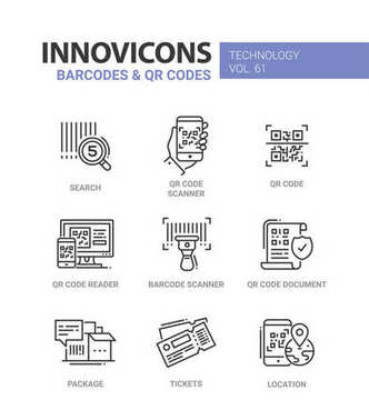 Barcodes and QR codes - line design icons set