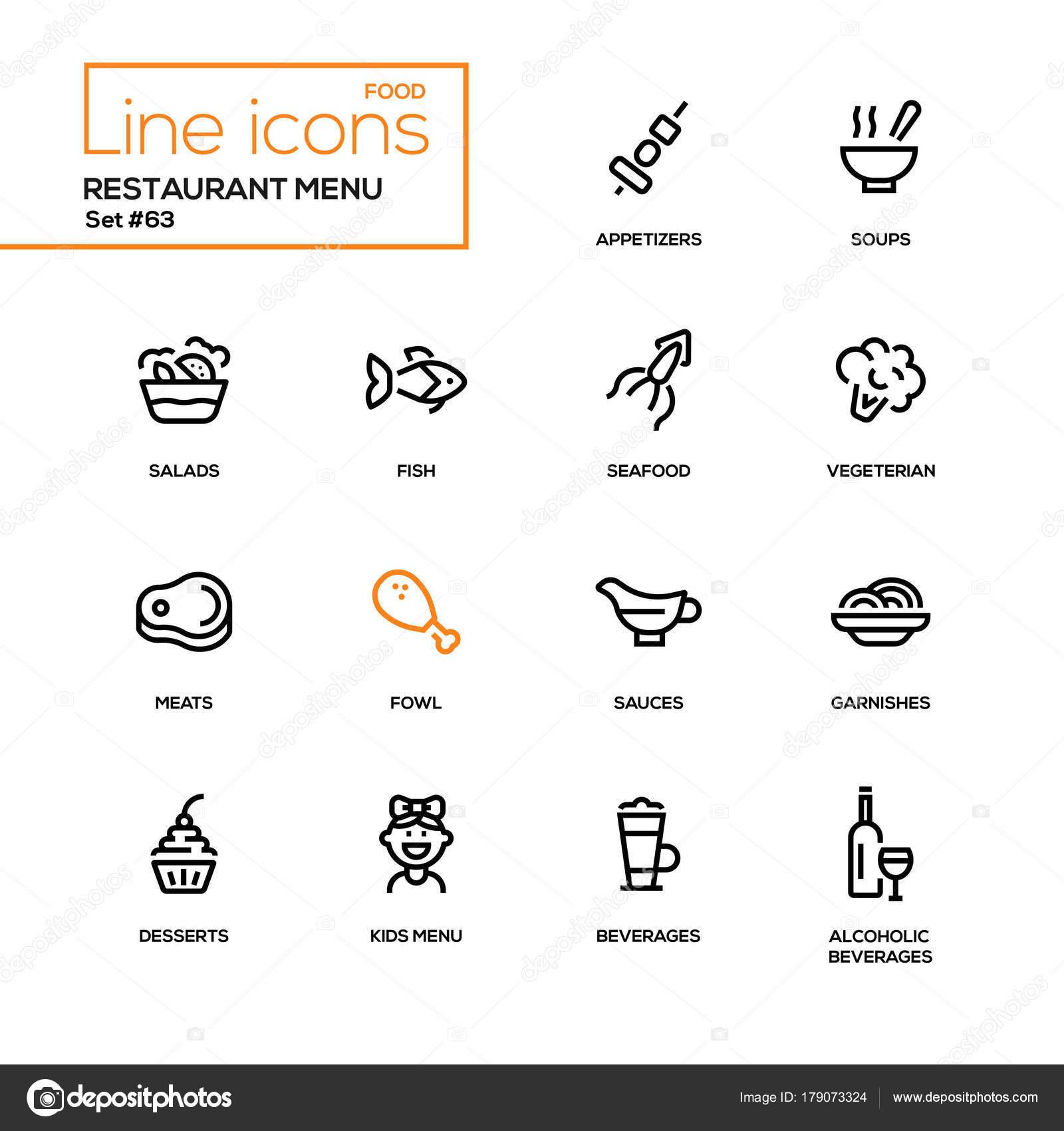 Menu restaurant - icônes du design ligne définie — Image vectorielle ...