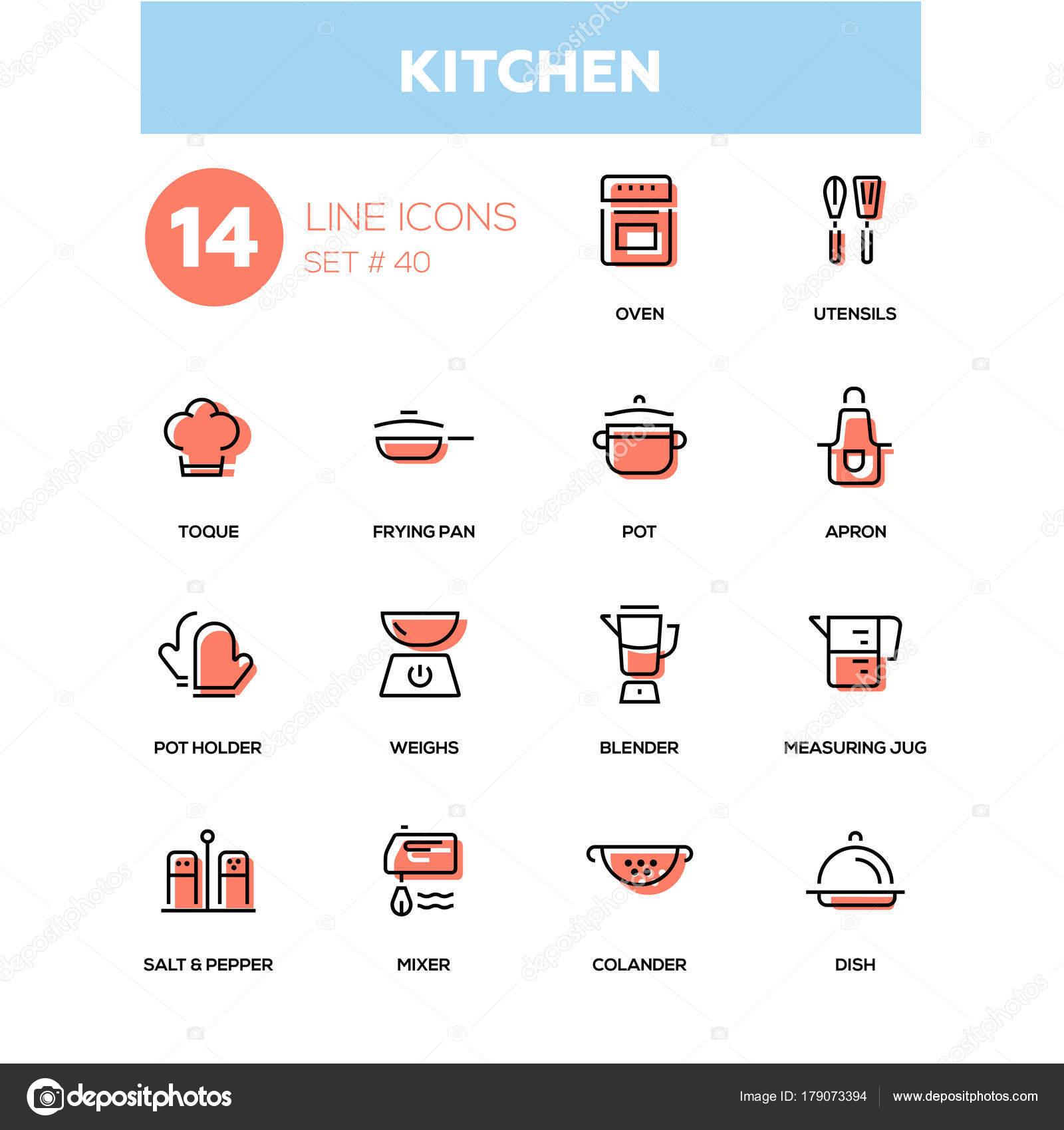 Utensilios de cocina - línea diseño iconos conjunto — Archivo ...