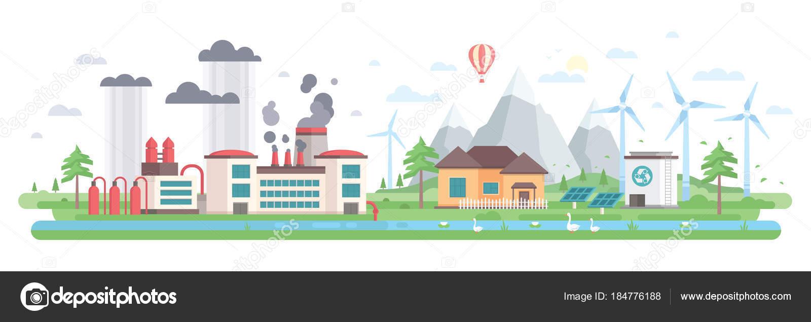 Luft- und Wasserverschmutzung - modernes flaches Design-Stil-Vektor ...