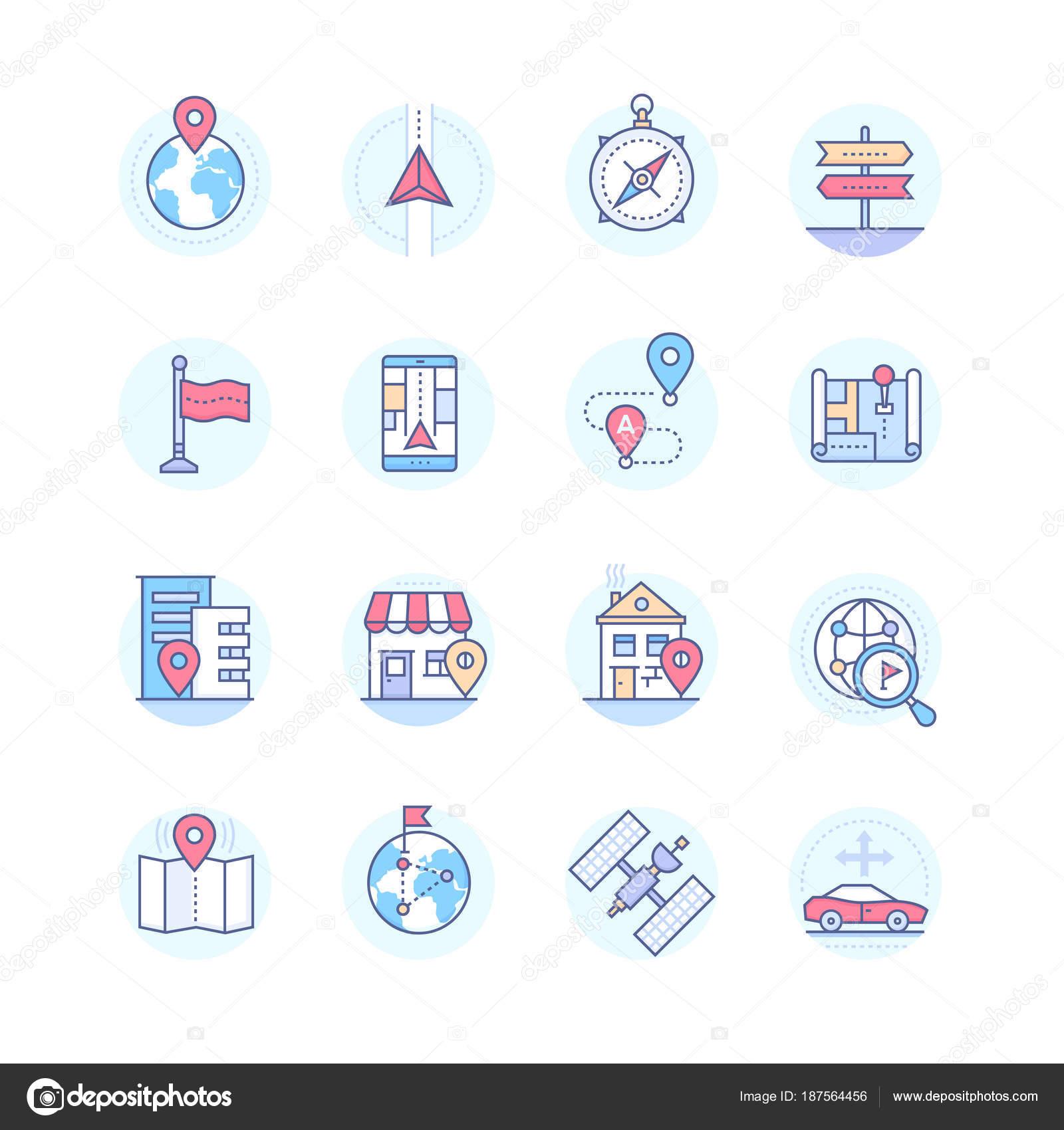 Geolocalización - vector moderno diseño estilo iconos juego — Vector ...