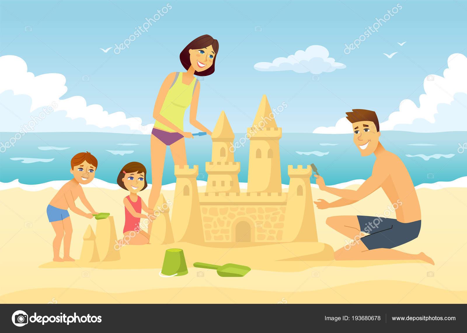 Vector Feliz Viaje Familia: Familia Feliz En Vacaciones