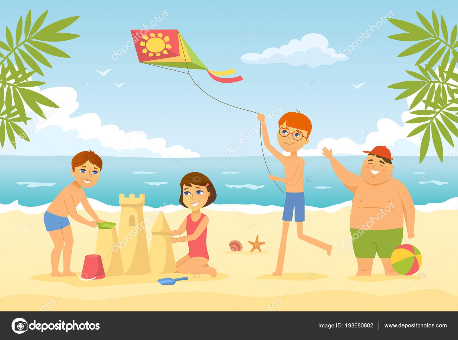 Niños Felices En La Playa Carácter De Gente De Dibujos Animados