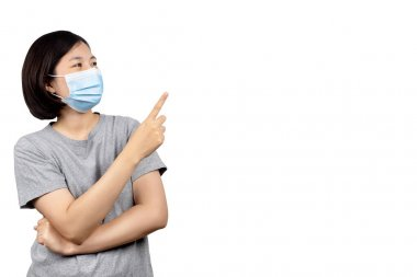 asian women wearing protection medical masks to prevent corona virus and hand pointing to copy space isolated on white background with clipping path