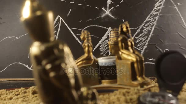 Pharaoh Statues on a sand video.