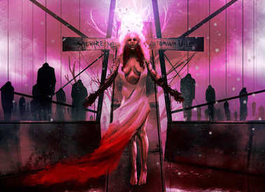 Horror woman illustration.