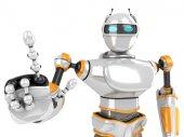 Futuristické Robot Push prstem na kameru