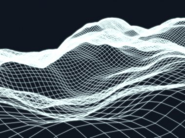 Wireframe landscape topology background