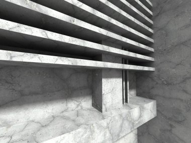 Concrete architecture construction with horizontal elements