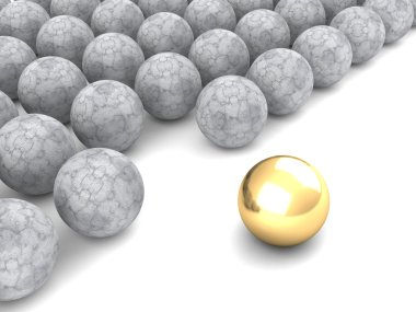 Leadership concept with golden sphere
