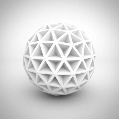 Abstract White Poligon Sphere
