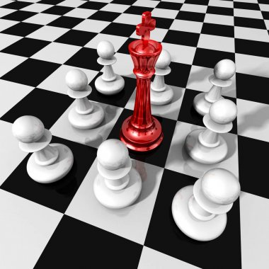 red glass chess king and pawns