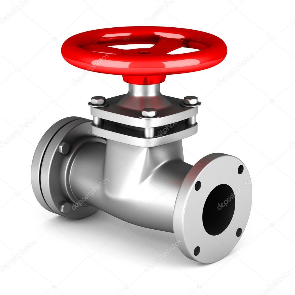 Red metal valve on white
