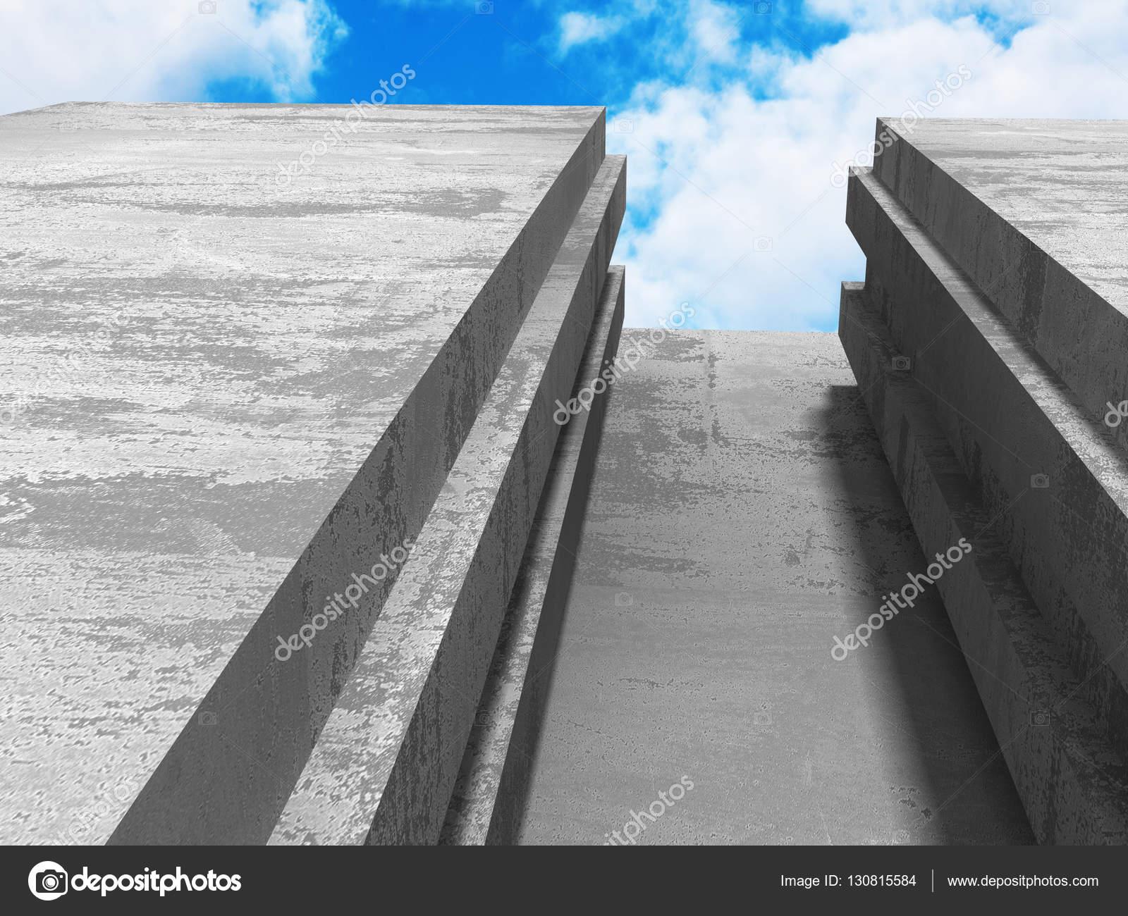 Architecture en b ton tr s g om trique avec ciel nuageux for Architecture geometrique