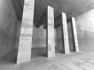 Concrete futuristic room interior