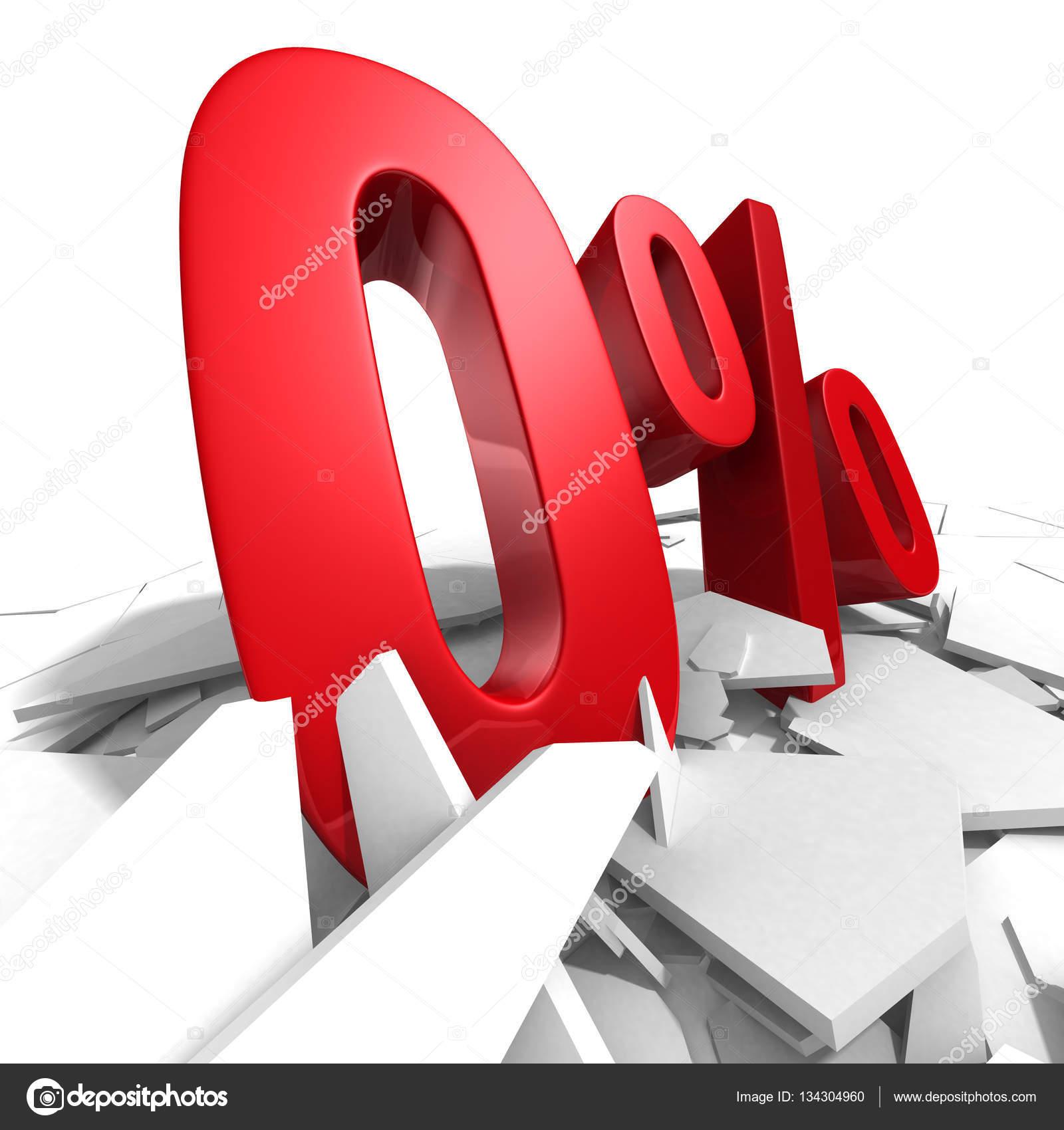 Red Zero Percent Discount Symbol Stock Photo