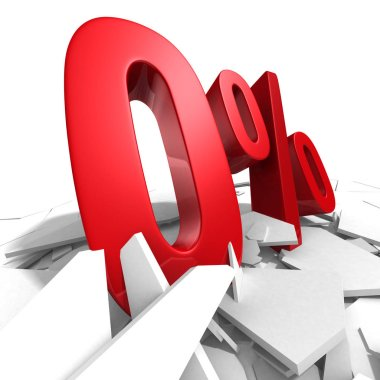 Red zero percent discount symbol