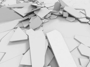 Abstract destruction white surface