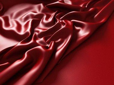 Red fabric silk folds texture