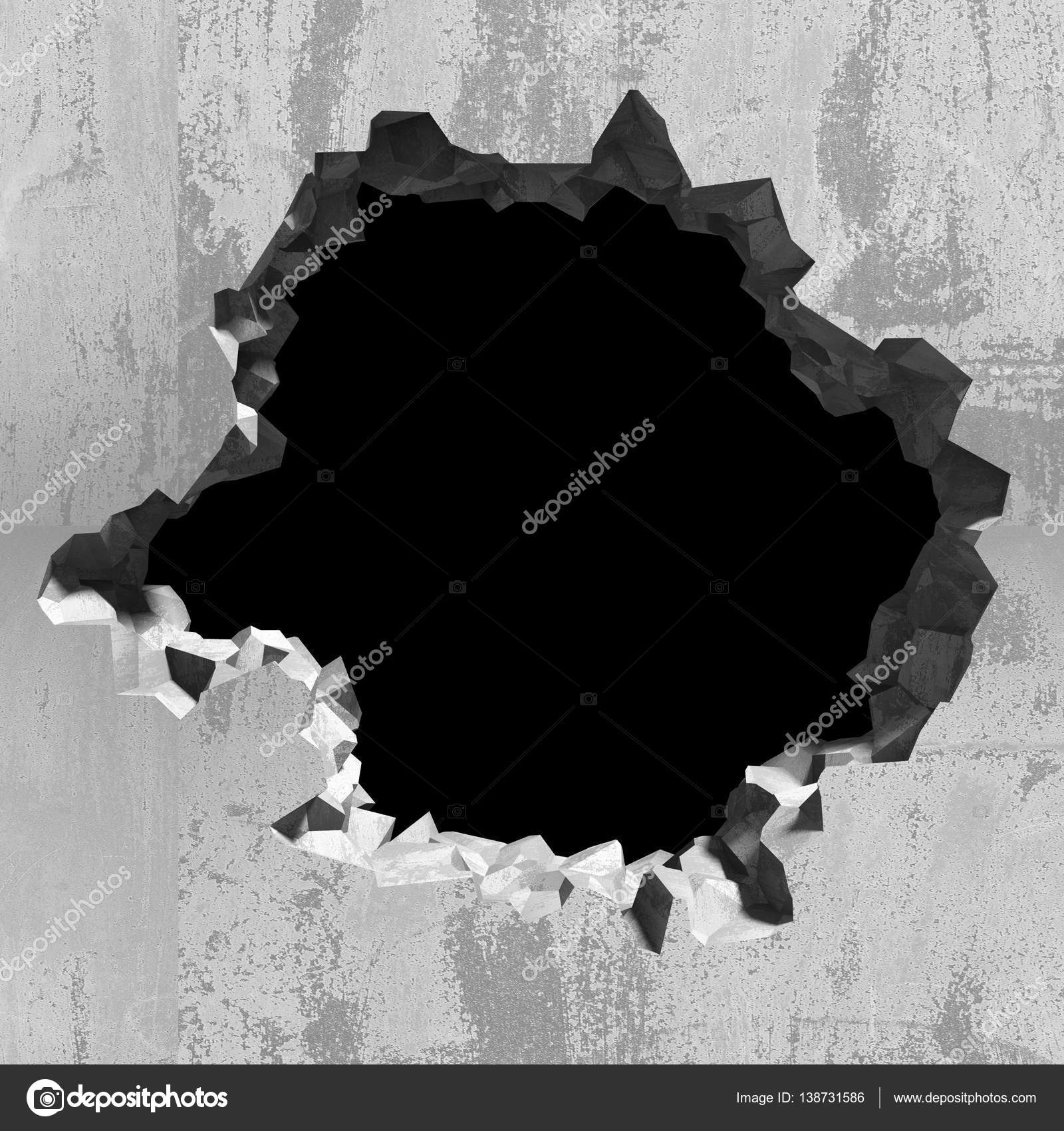 Hole In Concrete Wall : Hole in concrete cracked wall — stock photo versusstudio