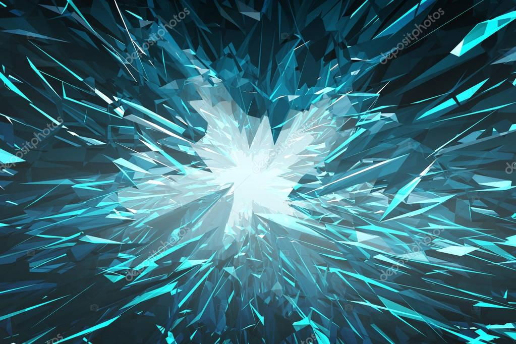 Abstract background from blue glass crystals