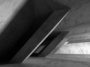 Dark concrete empty room