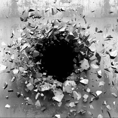 Dark cracked broken wall