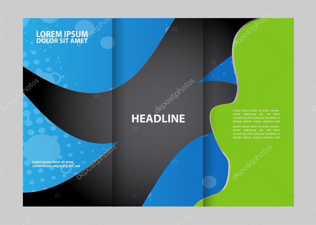 TriFold Technology Style Brochure Layout Design Template  Stock