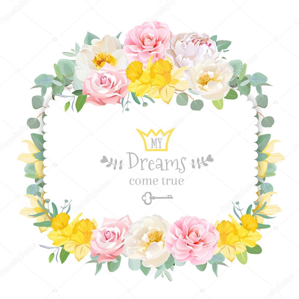 Cute floral square vector design frame with wild rose, narcissus