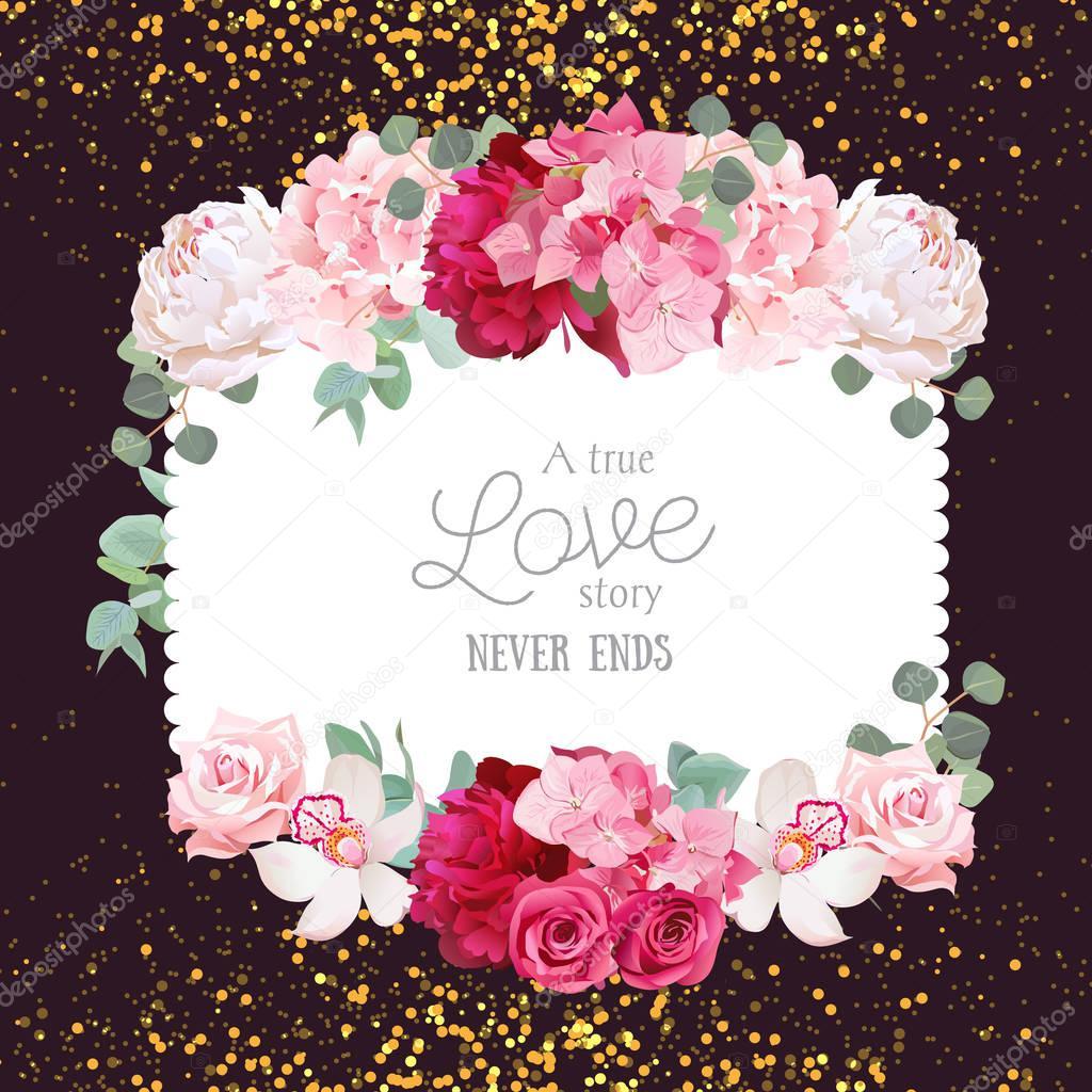 Floral vector design square card with golden glitter dark backgr