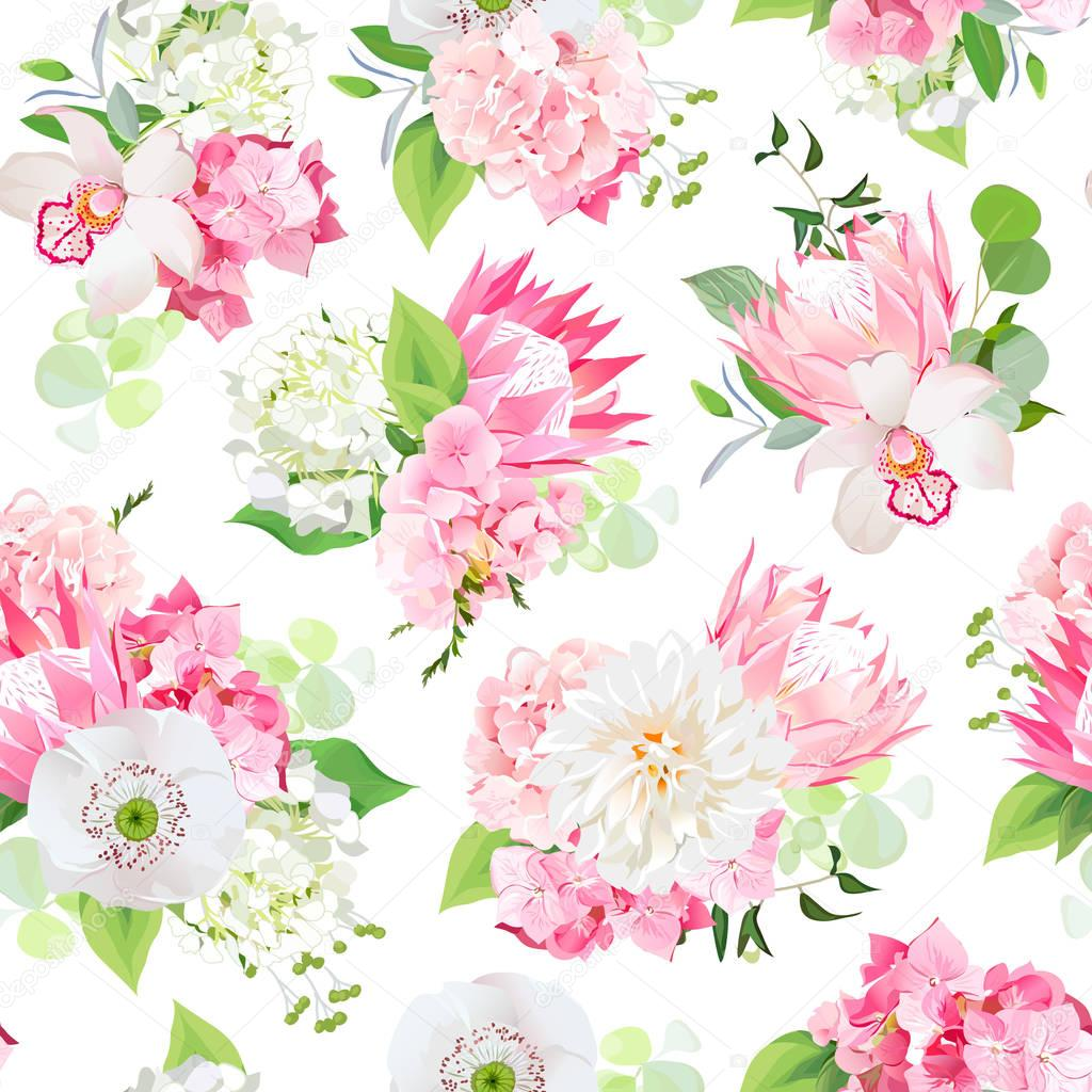 Spring mixed bouquets of pink hydrangea, protea, white poppy, da
