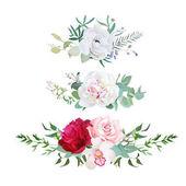Fotografie Stylish mix of horizontal flower bouquets vector design flowers