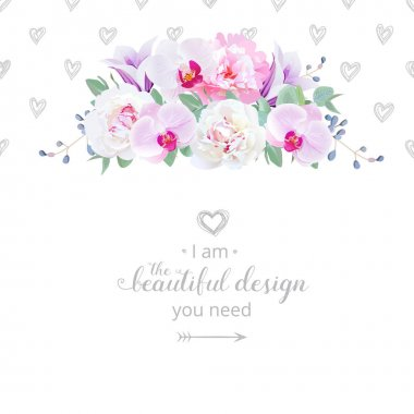 Wedding floral vector design horizontal card. Pink and white peo