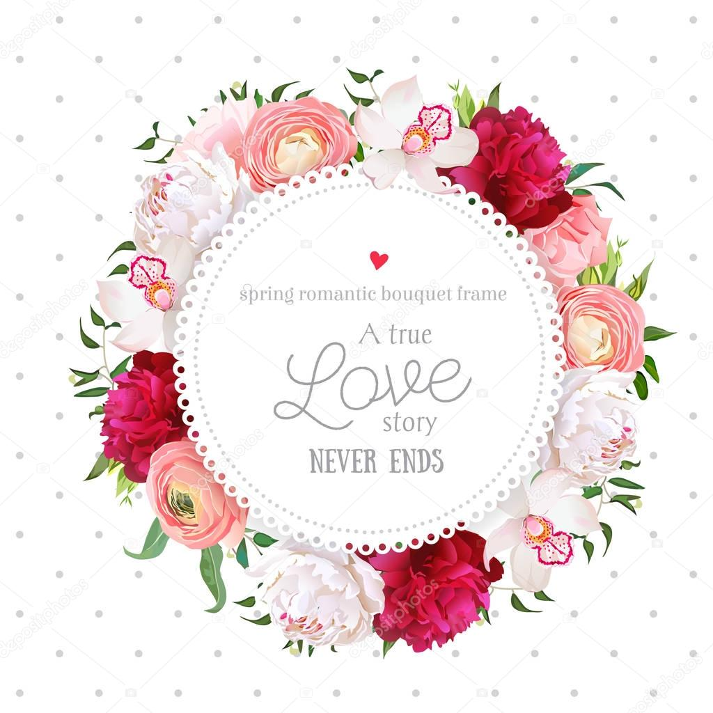 Polka dots pattern with floral vector design round card