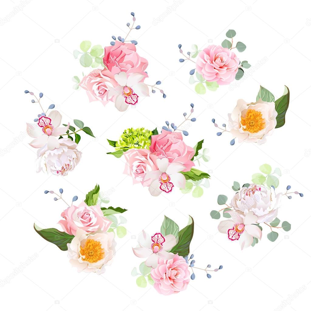 Small wedding bouquets of rose, peony, camellia, orchid, hydrang
